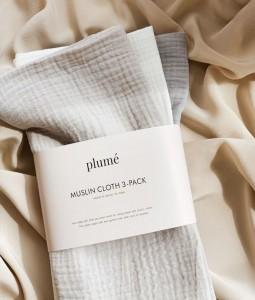 3pc Set Muslin Blanket/Swaddle - Grey