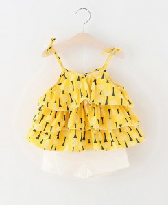 Yellow Ruffled Top&Shorts