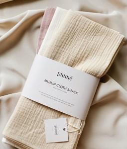 3pc Set Muslin Blanket/Swaddle - Creme