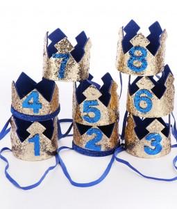 1st Birthday Crown - Blue/Gold