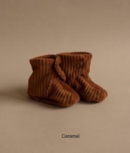 Rib Velvet Shoes - Caramel