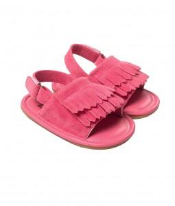 Pink Suede Fringe Sandals