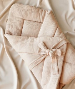 Muslin Baby Wrap with bow - Nude