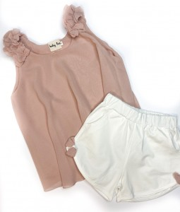 Pink Chiffon Top & Shorts