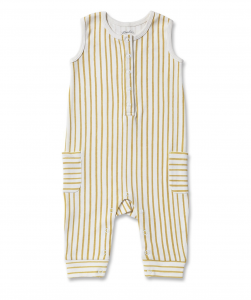 Stripes Away Romper - Mustard