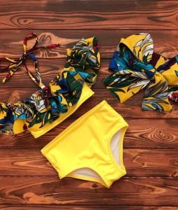 Yellow Floral High-waisted bikini Set