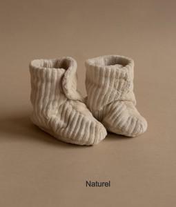 Rib Velvet Shoes - Natural