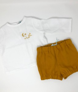 White Top & Mustard Shorts