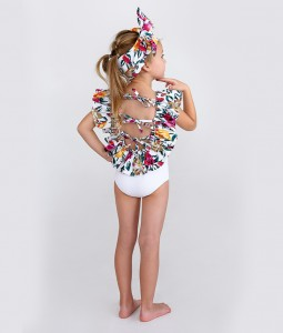 Crossed-Back Floral Swimsuit