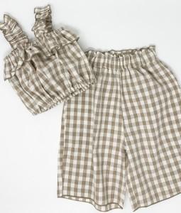 Cropped top & pants - Brown