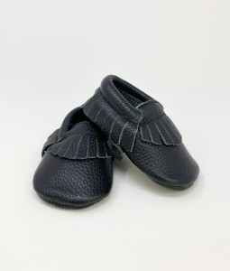 Black Genuine Leather Moccs