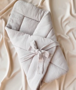 Muslin Baby Wrap with bow - Light Grey