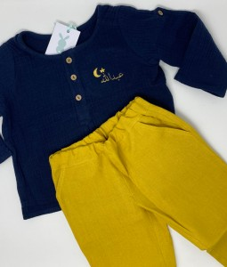 Navy Top & Mustard Linen Pants