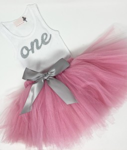 First Birthday Outfit - Dusty Pink2